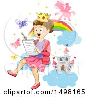 Clipart Of A Girl Writing A Fairy Tale And Imagining A Castle And Unicorn Royalty Free Vector Illustration by BNP Design Studio