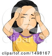 Clipart Of A Girl With A Headache Rubbing Her Forehead Royalty Free Vector Illustration by BNP Design Studio