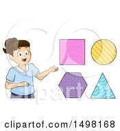 Clipart Of A Girl Presenting Shapes Royalty Free Vector Illustration by BNP Design Studio