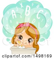 Clipart Of A Girl Writing And Learning Words Royalty Free Vector Illustration