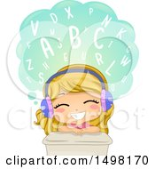 Clipart Of A Girl Learning The Alphabet Or Words And Wearing Headphones Royalty Free Vector Illustration by BNP Design Studio