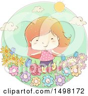 Clipart Of A Sketched Girl In A Flower Garden Royalty Free Vector Illustration