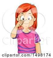 Clipart Of A Red Haired Girl Pointing To Her Nose Royalty Free Vector Illustration by BNP Design Studio