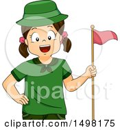 Clipart Of A Scout Girl With A Flag Royalty Free Vector Illustration