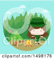 Clipart Of A Camping Scout Girl Royalty Free Vector Illustration