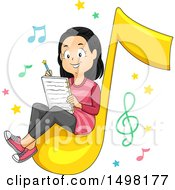 Clipart Of A Girl Sitting On A Music Note And Writing A Song Royalty Free Vector Illustration by BNP Design Studio