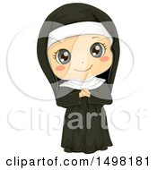 Clipart Of A Girl In A Nun Costume Royalty Free Vector Illustration