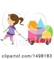 Clipart Of A Girl Pulling A Wagon Full Of Shapes Royalty Free Vector Illustration by BNP Design Studio
