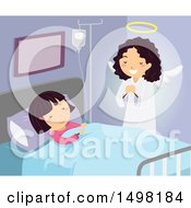 Clipart Of A Guardian Angel Watching Over A Girl In A Hospital Royalty Free Vector Illustration