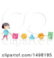 Clipart Of A Girl Leading A Line Of Shapes Royalty Free Vector Illustration