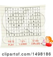 October 12th, 2017: Clipart Of A Girl Doing A Word Search Game Royalty Free Vector Illustration by BNP Design Studio