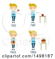 October 12th, 2017: Clipart Of A Girl With This That These And Those Pronouns Royalty Free Vector Illustration by BNP Design Studio