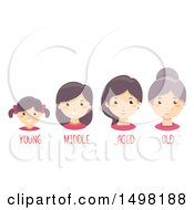 Clipart Of A Girl Aging To Old Royalty Free Vector Illustration by BNP Design Studio