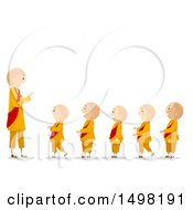 Clipart Of A Monk And A Line Of Children Royalty Free Vector Illustration