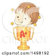 Clipart Of A Sketched School Boy On Top Of A Golden Winner Trophy Cup With An A Royalty Free Vector Illustration