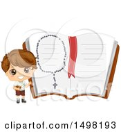 Boy Holding A Bible And Presenting A Giant Notebook With A Rosary