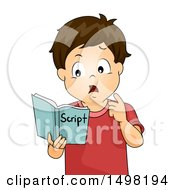 Clipart Of A Confused Boy Trying To Memorize Scripts Royalty Free Vector Illustration