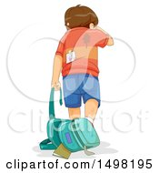 Clipart Of A Rear View Of A Beat Down School Boy Walking Away After Being Bullied Royalty Free Vector Illustration