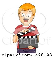 Clipart Of A Happy Boy Holding A Drama Theater Clapper Board Royalty Free Vector Illustration