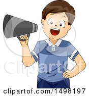 Clipart Of A Boy Director Using A Megaphone Royalty Free Vector Illustration by BNP Design Studio