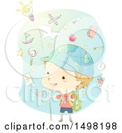 Clipart Of A Sketched Boy Exploring With A Globe Hat And Icons Royalty Free Vector Illustration by BNP Design Studio