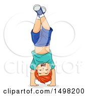 Clipart Of A Happy Boy Doing A Hand Stand Royalty Free Vector Illustration