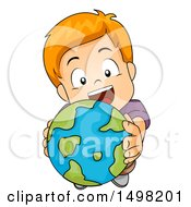 Clipart Of A Red Haired Boy Holding Up A Globe Royalty Free Vector Illustration by BNP Design Studio