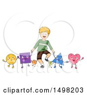 Clipart Of A Blond Boy Holding Hands With Shape Characters Royalty Free Vector Illustration by BNP Design Studio