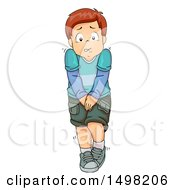 Clipart Of A Boy Desperately Needing To Go To The Restroom Royalty Free Vector Illustration by BNP Design Studio