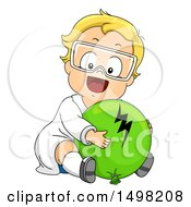 Poster, Art Print Of Blond Toddler Boy Hugging A Balloon For Static Electricity