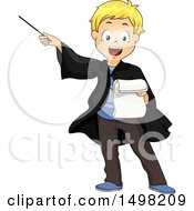 Clipart Of A Blond Boy Reading A Manuscript And Acting As A Wizard Royalty Free Vector Illustration