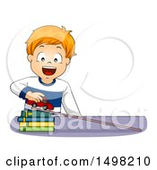 Clipart Of A Red Haired Boy Demonstrating Acceleration With A Car Books And Ramp Royalty Free Vector Illustration by BNP Design Studio