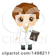 Clipart Of A Brunette Boy Wearing A Science Lab Coat And Holding A Clipboard Royalty Free Vector Illustration