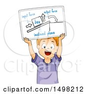 Clipart Of A Boy Holding Up A Drawing Explaining Inclined Plane Royalty Free Vector Illustration by BNP Design Studio
