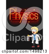 Clipart Of A Boy Switching Neon Physics Lights On Royalty Free Vector Illustration by BNP Design Studio