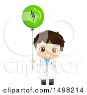 Clipart Of A Brunette Boy Wearing A Science Lab Coat And Holding A Static Electricity Balloon Royalty Free Vector Illustration