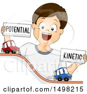 Clipart Of A Brunette Boy Demonstrating Potential And Kinetic Energy With Toy Cars Royalty Free Vector Illustration