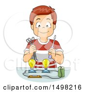 Clipart Of A School Boy Demonstrating A Battery Powering Light Bulbs Royalty Free Vector Illustration