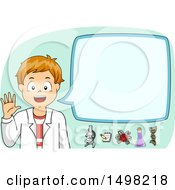 Clipart Of A School Boy In A Lab Coat Discussing Science Royalty Free Vector Illustration by BNP Design Studio