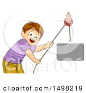 Clipart Of A Brunette Boy Using A Pulley Machine Royalty Free Vector Illustration
