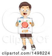 Clipart Of A Boy Holding An Atom Model Diagram Royalty Free Vector Illustration by BNP Design Studio