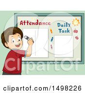 Clipart Of A Boy Writing On An Attendance Board Royalty Free Vector Illustration
