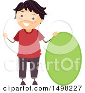 Clipart Of A Boy With A Shape Of An Oval Royalty Free Vector Illustration by BNP Design Studio