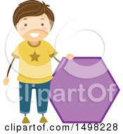 Clipart Of A Boy With A Shape Of A Hexagon Royalty Free Vector Illustration by BNP Design Studio