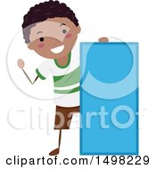 Clipart Of A Boy With A Shape Of A Rectangle Royalty Free Vector Illustration by BNP Design Studio