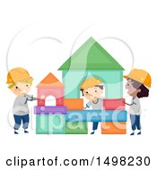 Poster, Art Print Of Group Of Boys Building A Structure From Shapes