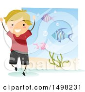 Clipart Of A Happy Boy At An Aquarium For A Field Trip Royalty Free Vector Illustration