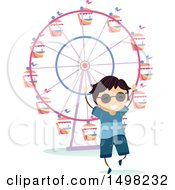 Clipart Of A Happy Boy At A Theme Park For A Field Trip Royalty Free Vector Illustration by BNP Design Studio