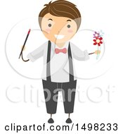 Clipart Of A Boy Performing A Magic Trick With Flowers Royalty Free Vector Illustration