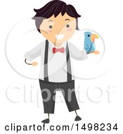 Clipart Of A Boy Performing A Magic Trick With A Bird Royalty Free Vector Illustration